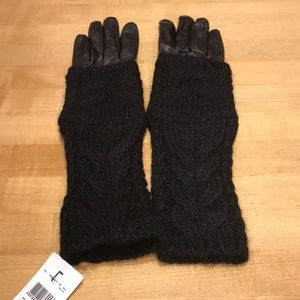 NWT Club Monaco Amelia Black Cable Gloves, L